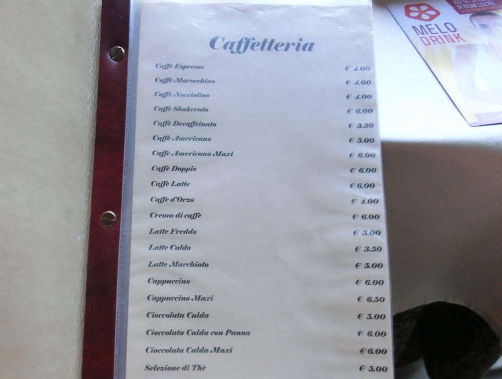 フィレンツェのボーボリ庭園のおしゃれカフェのメニュー