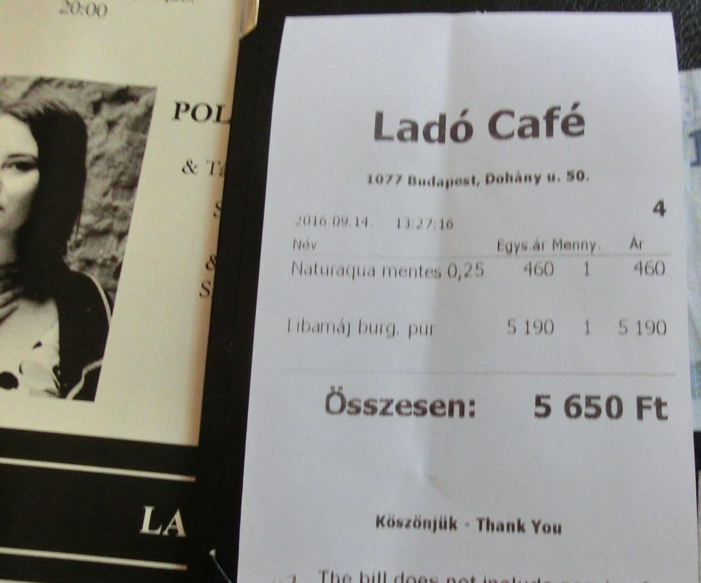 ハンガリーのフォアグラが美味しいレストランのお会計