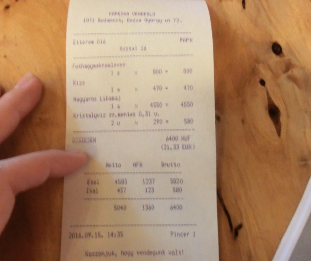 ブダペストのおすすめレストラン「パプリカ」での食事のお会計