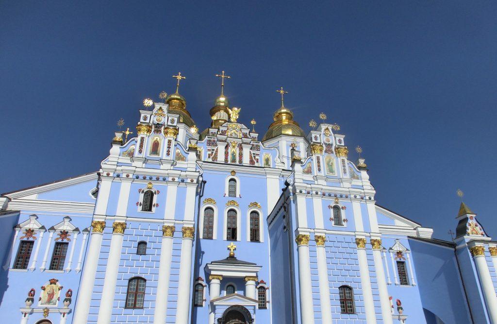 キエフの観光ブルーがキレイな「聖ミハイルの黄金ドーム修道院」