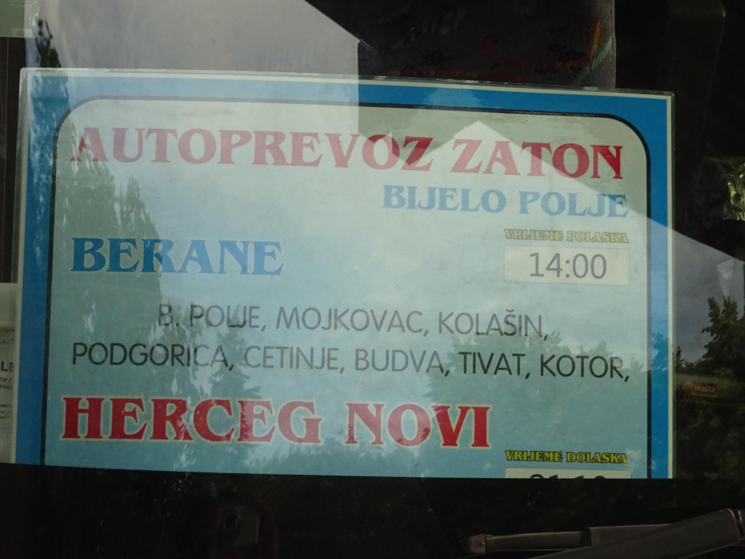 「ポドゴリツァからコトルまで行くバス」はブドヴァにも行ける☆