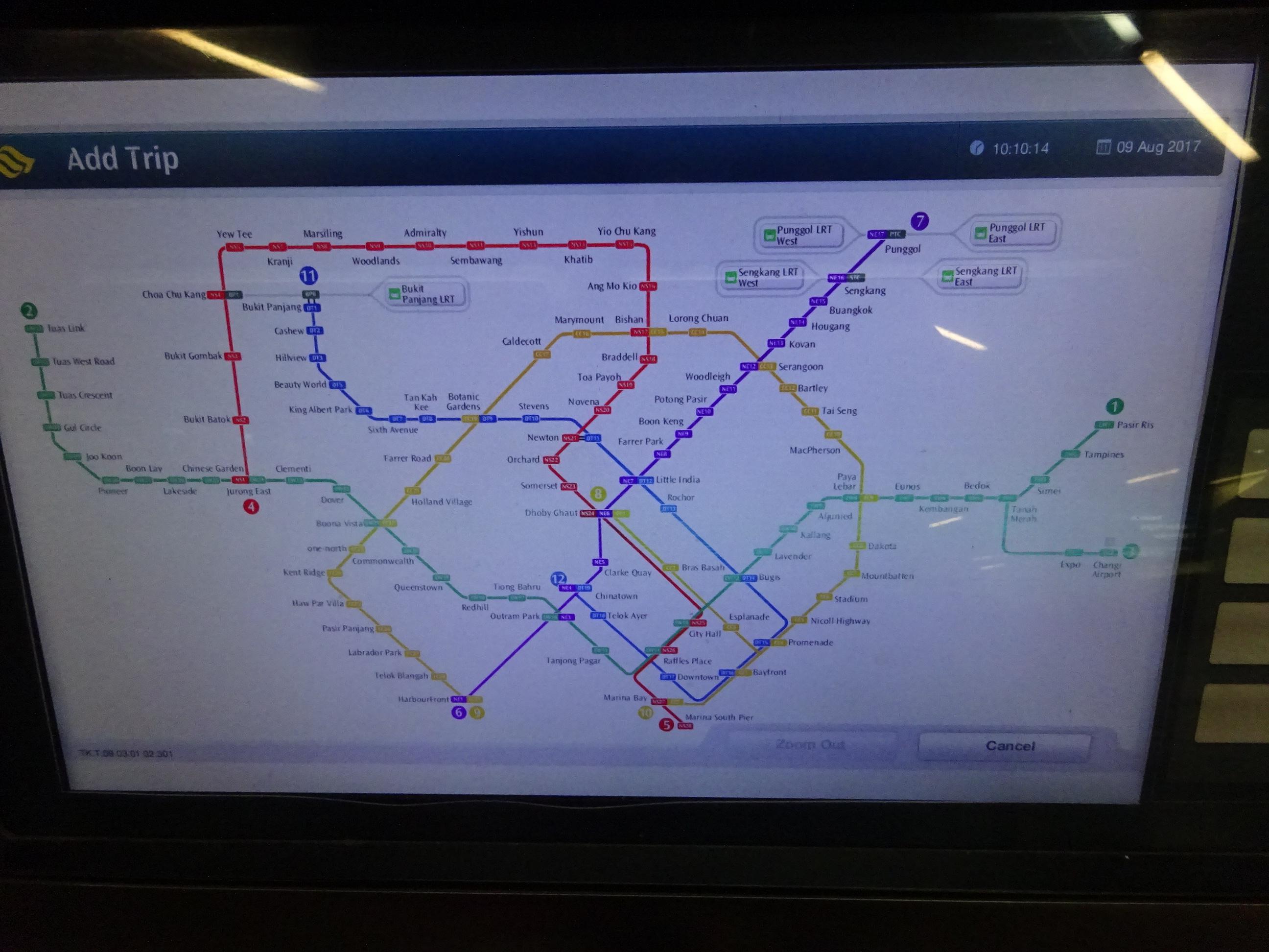 シンガポールの地下鉄の券売機「Map」の画面