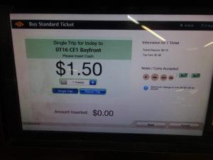 シンガポールの地下鉄の券売機の画面
