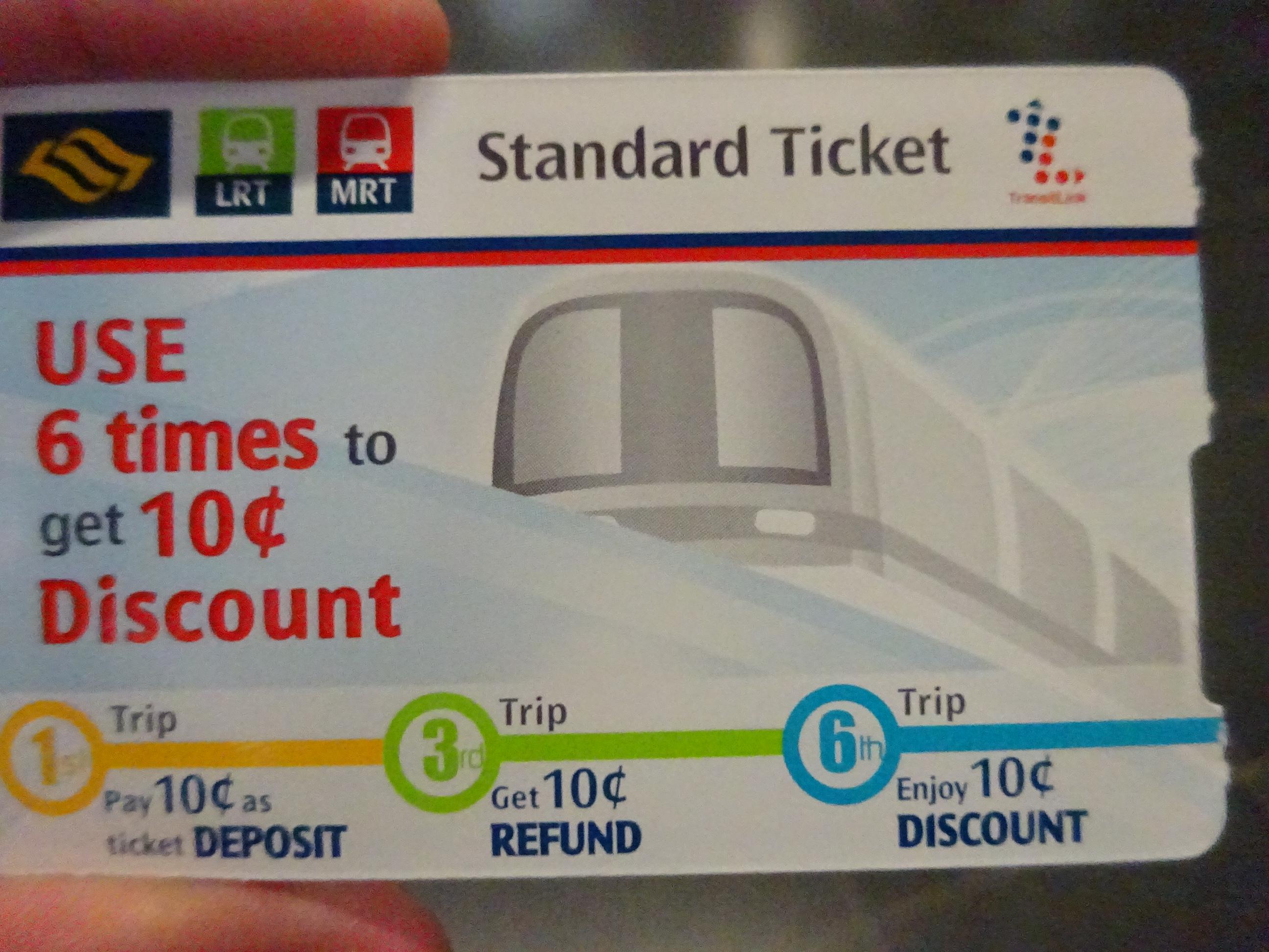 シンガポールの地下鉄の「スタンダードチケット」