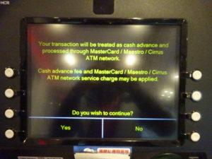 香港のATMの使い方(手数料の確認画面)